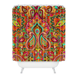 DENY Designs - Aimee St Hill Paisley Orange Shower Curtain - Who says bathrooms can't be fun? To get the most bang for your buck, start with an artistic, inventive shower curtain. We've got endless options that will really make your bathroom pop. Heck, your guests may start spending a little extra time in there because of it!