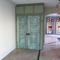 Doors and Windows - This is a multicolor antique finish for interior doors. The finish shows many layers of various colors as well as bare wood, imitating paint being worn off. We can provide similar finishes for furniture, windows, and exterior doors as well. We can also manufacture doors and windows. (Price includes finish only)