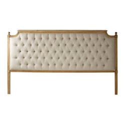 Zentique - Louis Tufted Headboard - A grand headboard makes your queen- or king-size bed feel as though it's fit for royalty. The classic pairing of natural linen and carved oak gives it a vintage feel that plays well with modern bedding. It's the perfect addition to the master bedroom of your dreams.