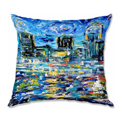 DiaNoche Designs - Pillow Woven Poplin - Karen Tarlton Starry Night - Toss this decorative pillow on any bed, sofa or chair, and add personality to your chic and stylish decor. Lay your head against your new art and relax! Made of woven Poly-Poplin.  Includes a cushy supportive pillow insert, zipped inside. Dye Sublimation printing adheres the ink to the material for long life and durability. Double Sided Print, Machine Washable, Product may vary slightly from image.