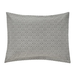 DwellStudio - Paloma Pillow Sham Pair by DwellStudio - Sharp geometry, soft cotton. The DwellStudio Paloma Pillow Sham Pair complements the Paloma Duvet Cover with its refined pattern and smoke grey color palette. The 3D-looking pattern was inspired by a stone floor in India, and is duplicated here in woven 400 thread count heirloom quality cotton jacquard. DwellStudio, founded in 1999 by Christiane Lemieux, specializes in home furnishings steeped in modern design. With a unique sense of color and a strong commitment to quality and innovation, DwellStudio continues to create its own distinctive interpretation of modern home furnishings. In the same creative spirit, the company encourages their customers to experiment with mixing various DwellStudio textile lines together.