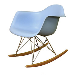 Wholesale Interiors - Blue Plastic Rocking Chair - A minimalistic, contemporary rocking chair, this design will maximize style and the number of head-turns while eliminating pretentiousness in your room. The modern rocker is crafted with an eye-catching robin's egg blue seat over a very supportive chromed steel base support. The whimsical rocking feature is supported by the light-stained ash wood legs. Assembly is required. This item is also available in white.
