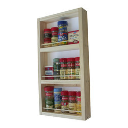 None - WG Wood Products Solid Wood Surface Mounted Kitchen Spice Rack - This hanging wooden spice rack can go on any wall in the kitchen, or inside a cupboard or pantry. The piece is composed of pine for durability, and can be painted or stained to match decor. The rack lets you organize and display your spices easily.