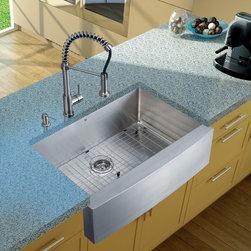 Vigo Industries - Platinum Farmhouse Kitchen Sink Set with Matching Grid - Includes stainless steel kitchen sink, stainless steel kitchen faucet, matching grid, strainer and stainless steel soap dispenser.