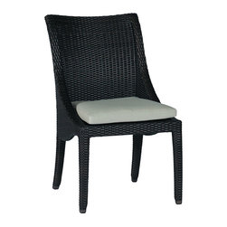 Frontgate - Athena Dining Outdoor Side Chair with Cushion - Ideal for any environment, including oceanfront and saltwater destinations. Smoothly woven of UV-resistant high-quality wicker. Hand-welded, durable aluminum frame. Generously proportioned frame accommodates a plush outdoor cushion. Cushion covered in exclusive solution-dyed fabrics, created using only the finest materials and technology for longevity outdoors, including Sunbrella&reg. The Athena Dining Side Chair by Summer Classics&reg brings graceful beauty to any outdoor space with its curved and elegant design. high-quality resin wicker is expertly hand-woven over durable aluminum frames to create the smooth lines of the exquisite Athena Collection. The innovative materials create the perfect dining side chair for any open air setting, including beach and salt water environments.  . . .  . . Note: Due to the custom-made nature of the cushions, any fabric changes or cancellations to the Athena Collection must be made within 24 hours of ordering.