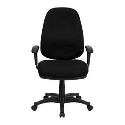 Flash Furniture - Flash Furniture High Back Computer Chair with Adjustable Arms in Black - Flash Furniture - Office Chairs - BT661BKGG - This black computer task chair has all the features needed to ensure that comfort even on the days that seem never-ending. Characteristics such as built-in lumbar support height adjustable seat back and arms and its ergonomic design make this task chair perfectly customizable for your use. [BT-661-BK-GG]
