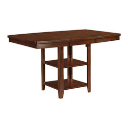 """Adarn Inc - Popular Espresso Boat Shaped Gathering Dining Table Storage Base Extension Leaf - The Bradley Gathering table employs clean lines and a rich """"Espresso"""" finish. An added storage area in the base of the table makes this unique piece stand out. A spacious tabletop makes this the perfect piece for your family to gather around. Some assembly required."""