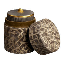 """L'Objet - L'Objet Fortuny Pleats Candle Rabat Grey - L'Objet Fortuny Pleats Candle Rabat Grey An homage to Mariano Fortuny and the artisans of Venice, our candle is presented in an elegant porcelain body delicately textured to recall the distinguishable Fortuny pleats. With fragrant notes of both bitter and sweet, the name of our scent is taken from Fortuny's signature Venetian red, Limoges Porcelain,14K Gold Accents Paraffin Wax """"Bittersweet"""" Scent Fabric:100% Long-Staple Egyptian CottonPattern: Rabat Grey Measures: 3"""" x 3.5"""" Available in Red, Yellow, Green, Blue, or Grey Bittersweet, reminiscent of the Venetian custom of an apertif of Prosecco infused with Campari or Aperol. Each candle is encased in a fine grey bisque Limoges porcelain with 14K gold accents and presented in a luxurious Fortuny fabric upholstered box, offered in 5 colors."""