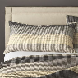 Sedona Grey King Sham - Warm greys sweep in horizontal bands, accented with hand-guided embroidery. Polyester topside brings out the sheen, reversing to soft cotton. Linens have neat self-hemmed edges. Shams have generous overlapping closures on the back. Bed pillows also available.