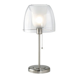Lite Source - Double Glass Table Lamp - Frost Inner Glass Shade - Double Glass Table Lamp - Frost Inner Glass Shade