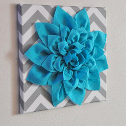 "Light Turquoise Dahlia on Gray and White Chevron by BedBuggs - This handmade wool felt piece on a chevron background brings a new (and more positive!) meaning to ""wallflower."" You can even custom order it in any color combination."