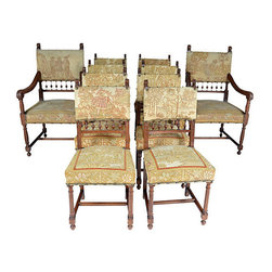 "n/a - Consigned 19thC French 10 Needlepoint Chairs - Set of ten dining chairs constructed out of European walnut in the Henri II or Renaissance Revival style, upholstered with original needlepoint. Each needlepoint chair features different scenery depicting pastoral scenes, Aesop's fables. All in the very good condition, no tears or damage to the needlepoint. Side chair, 17""L x 16""W x 36.75""H. Armchair dimensions below. Seats, 17""H."