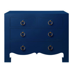 Bungalow 5 - Bungalow 5 Jacqui 4 Drawer Chest in Navy Blue - Navy Blue: Lacquer FinishFinish: Gold Ring Pulls