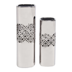 None - Nickel Lattice Tall Square Ceramic Vases Set of 2 - These beautiful vases will bring an elegant and modern look to your home or office. Made of ceramic with a metallic nickel plate finish,these two vases feature a lattice design.