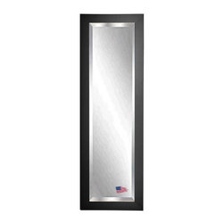 Rayne Mirrors - American Made Black Satin 21 x 60 Slender Beveled Body Mirror - Add a sophisticated and classic touch to any room with this grand black satin tall mirror. Each Rayne mirror is hand crafted and made to order with American products.  All hardware included for vertical or horizontal hanging, or perfect to lean against a wall.
