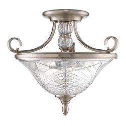 Golden Lighting - Golden Lighting Alston Place Convertible Semi-Flush - Popular Pewter finish for any color scheme The crystal glass center column adds a modern update to this traditional style All hanging fixtures feature iridescent glass Iced Crystal glass is hand-cut and has exceptional clarity, creating brilliance & sparkle Faceted crystal accents