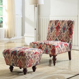 Kinfine - Armless Accent Chair & Ottoman Set in Ikat - Give your home a modern design with this lovely accent chair and ottoman. The beautiful multi-color ikat design fabric will spruce up any living area while giving you a comfortable place to sit and read.