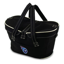 Picnic Time - Tennessee Titans Mercado Picnic Basket in Black - This Mercado Basket combines the fun and romance of a basket with the practicality of a lightweight canvas tote. It's made of polyester with water-resistant PEVA liner and has a fully removable lid for more versatility. Take it to the farmers market, the beach, or use it in the car for long trips. Carry food or sundries to and from home, or pack a lunch for you and your friends or family to share when you reach your destination. The Mercado is the perfect all-around soft-sided, insulated basket cooler to use when you want to transport a lunch or food items and look fashionable doing it.; Decoration: Digital Print; Includes: 1 removable canvas lid