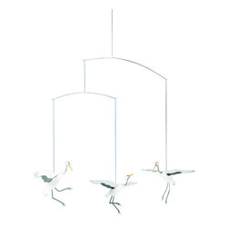 Flensted Mobiles - Crane Dance Mobile - Bring harmony and good fortune to your little one's room with a mobile featuring delicate dancing cranes. They'll catch your baby's eye as they dip and swirl.