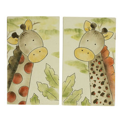 Cotton Tale Designs - Zumba Wall Art (2 Piece) - A quality baby bedding set is essential in making your nursery warm and inviting. All N. Selby patterns are made using the finest quality materials and are uniquely designed to create an elegant and sophisticated nursery. Brightly colored giraffes, hand painted on natural canvas. 2 pieces, each measuring 12 x 20. Can be used side by side or separate. The perfect finish to your nursery. Attached black, grosgrain ribbons for hanging This art can also be framed if desired. This wall art is hand painted and made in the USA. Dust only.