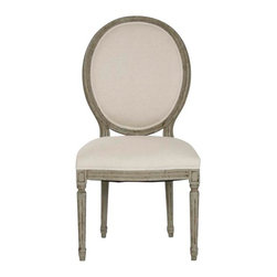 Zentique - Medallion Side Chair, Off-White/Olive Green - A rounded back side chair is the perfect accent piece in a formal living room or dining room. Pick from eight upholstery and paint finish combinations for your ideal look. Beautiful carved-wood detailing gives each piece a vintage feeling that is made for mixing and matching with the rest of your furniture.