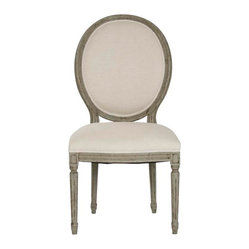 Medallion Side Chair, Off-White/Olive Green