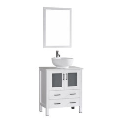 "Bosconi - 30"" Bosconi AB130RO Single Vanity, White - Sophistication is priority with this fresh 30"" glossy white Bosconi vanity. The ceramic, round vessel sink and perfectly matching mirror accentuate the modernistic approach to the design. The center cabinet features soft closing doors and is spacious enough to store towels, toiletries and bathroom accessories."
