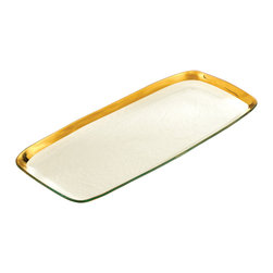 "Annieglass - Rectangular Platter Gold Rim - Roman - Annieglass handmade Roman Antique collection large rectangular platter in gold trim. Durable, dishwasher safe, chip resistant and safe for dining. Makes a great wedding gift, birthday gift, baby shower gift, or any other special occassion! Handmade glass 20 x 9 1/2"" large rec. platter produced in the U.S.A. Durable, chip-resistant and dishwasher safe. Banded with 24-karat gold. Each Annieglass piece is handmade from architectural quality glass with Annie Morhauser's trademark slumping process  which is a uniquely developed glass bending technique. Each piece is highly durable, dishwasher safe, chip resistant, and safe for dining."