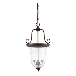Joshua Marshal - Three Light English Bronze Seeded Glass Foyer Hall Pendant - Three Light English Bronze Seeded Glass Foyer Hall Pendant