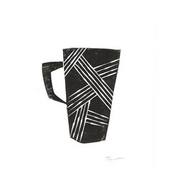 Printwork - Playful Lines Coffee Mug 5 x 7 Hand-pulled Linocut Print, Black - This print features a fun coffee cup with playful line patterns would look great in your kitchen or dining room