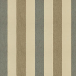 Sunbrella - Fawn Stripe Fabric, Blue and Tan - Sold by the yard, 36 inches, at 54 inch width.