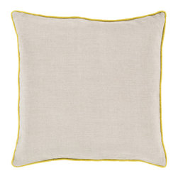 "Surya - Square Linen Pillow LP-003 - 22"" x 22"" - Add a splash of color to your space while still maintaining a clean, uncomplicated look with this perfect pillow. Featuring a delicate beige canvas outlined with a vibrant yellow, this piece will give your room a modern and mature feel. This pillow contains a zipper closure and provides a reliable and affordable solution to updating your home's decor."
