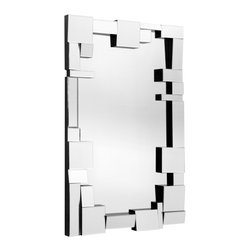 "Zuo Modern - Construct Mirror - Geometric pieces fit together like a puzzle, framing the contemporary Construct mirror. As light bounces off its three-dimensional border, this unique wall accent opens up an entry, hallway or living space. Solid back; Dual wires for multiple hanging positions; 31. 5""W x 49. 6""H"