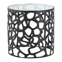 arteriors - Ennis Side Table - Black oxidized iron base with glass top table
