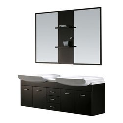 Vigo - Vigo 59-inch Double Bathroom Vanity with Mirrors and Shelves - Fall in love with this durable, stylish Vigo bathroom vanity. No other brand can match Vigo's style, quality and design.