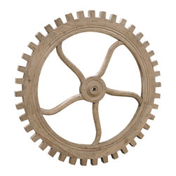 """Kathy Kuo Home - Rustic Lodge Reclaimed Elm Wood 40"""" Large Wheel Wall Decor - Reinvent your wall decor with this eye-catching wooden wheel. Fashioned from reclaimed elm and inspired by old textile mills, it's a gorgeous combination of rustic charm and chic industrial style."""