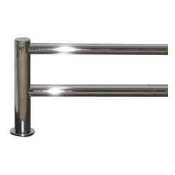 "Top Knobs - Hopewell Bath 30"" Double Towel Rod - Polished Chrome - Length - 31 1/2"", Projection - 5 7/8"", Center to Center - 30"", Bar Stock Diameter - 5/8"", Base Diameter - 1 1/2"" w (x) 1 1/2"" h"