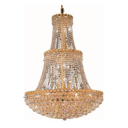 Elegant Lighting - Elegant Lighting 1901G30G/EC Century 17 Light Foyer Pendants in Gold - 1901 Century Collection Large Hanging Fixture D30in H48in Lt:17 Gold Finish (Elegant Cut Crystals)