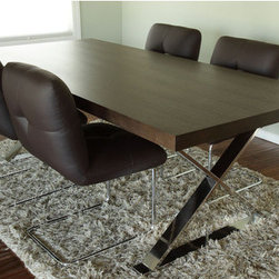 """Pangea Home - Mason Dining Table - Ultra modern and chic dining table with high polished X-shaped metal legs. This piece will make a big statement in your dining room. Sits up to 8 people. Features: -Mason collection. -Wood veneer with high polished metal legs. Dimensions: -30"""" H x 87"""" W x 39"""" D, 100 lbs."""