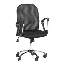 Chintaly - Mesh Back Swivel Tilt Chair w Black Padded Se - Black upholstery. Swivel and tilt. Made from Metal frame. No assembly required. 21 in. W x 21.3 in. L x 39 in. H