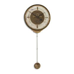 clocks - Weathered, laminated clock face with a cast brass outer rim, brass center components and long working pendulum. Requires 1-AA and 1-D battery.