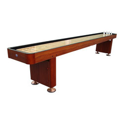 """Playcraft - Woodbridge 14' Cherry Shuffleboard - Features: -14 feet table. -1 1/2"""" thick solid hardwood butcher-block bed (not a laminate) finished with 7 coats of lacquer to create a smooth, glossy, fast surface. -2 - rigid, reinforced double-paneled pedestal legs with metal leg levelers featuring a new in leg storage compartment. -1 piece, hardwood micro-lam cabinet construction for increased stability. -Solid hardwood corners. -Carpeted walls and gutters. -Rich looking cherry cabinet. -Playing equipment includes, set of eight, 2"""" playing weights, (4 blue and 4 red) speed bead wax, cleaner/polisher and playing instructions. -Bumper system not included. -Overall dimensions: 31"""" H x 25"""" W x 168"""" L. --Playing equipment includes, set of eight deluxe, 2"""" playing weights, (4 blue & 4 red) speed bead wax, cleaner/polisher and playing instructions."""