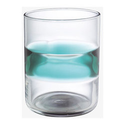 Alfie Large Tumbler, Blue - The aqua band around this simple glass tumbler has me dreaming of shimmering pools.