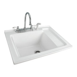 "Foremost - Foremost LS-3021-W White Berkshire Berkshire Laundry Sink Acrylic with - Berkshire Laundry Sink Acrylic with Shelf 30.5"" The Berkshire Laundry Collection makes it easy to design a laundry room to your exact specifications. Each piece comes fully-assembled with chrome or oil rubbed hardware providing a gracious blend of masterful construction and charm. Foremost LS-3021-W Features:  Four faucet holes  Foremost LS-3021-W Specifications:  Height: 12"" Length: 30.5"" Width: 22"""