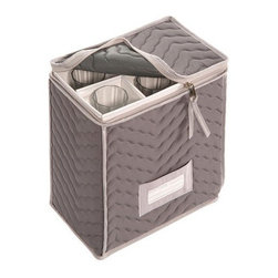 Richards Homewares - Richards Homewares Micro Fiber Deluxe Champagne Flute - Thick plush quilted micro fiber champagne flutes storage chest protects your fine crystal from dirt and chipping. Holds 6 stemware glasses. Contents card for easy identification.