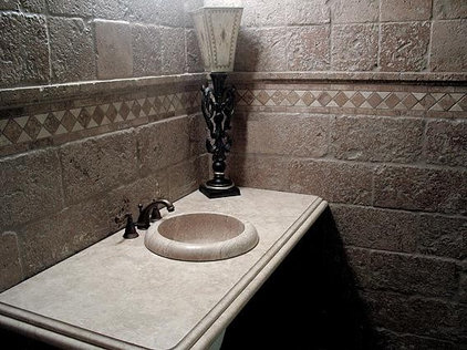 Traditional Powder Room by Authentic Durango Stone™