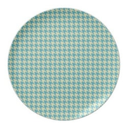 Blue and Brown Houndstooth Plate - Houndstooth dishes are a great way to access the trend without a lot of commitment or expense. I am loving all of the different colors houndstooth that can be found this season.