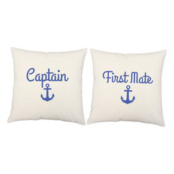 Store51 LLC - Captain First Mate Pillow Covers 16x16 White Sailor Shams - FEATURES: