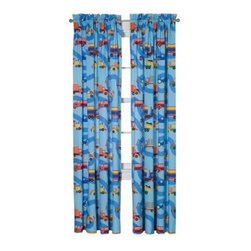 "Boys Like Trucks Window Panels set - Our Trucks window curtain sets coordinate with the bedding fabric, knobs and accessories to make the room theme complete. Designer fabric has a road and trucks of every kind. 2 panels, 84""L x 59"" W."