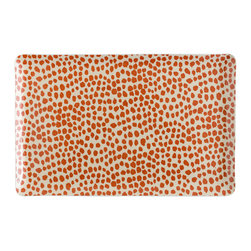 """Michael Devine - Dottie Large Tray, Coral - The generous 11""""x 17"""" size of this tray makes it ideal for a lap dinner or for serving a crowd. I use this size all the time, especially when we have an impromptu dinner party like the one shown in my book. It is just big enough to hold what you need, a dinner plate, glass and flatware for one."""